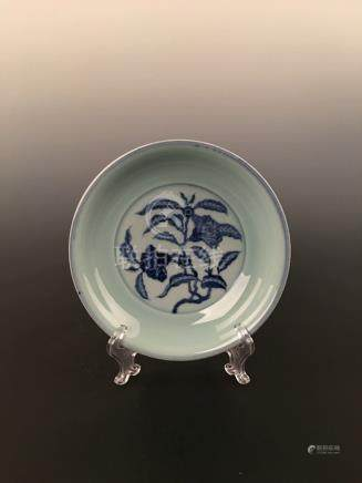 Chinese Celadon With Blue &White Dish
