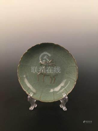 Chinese Long Quan Ware Dish With Deer
