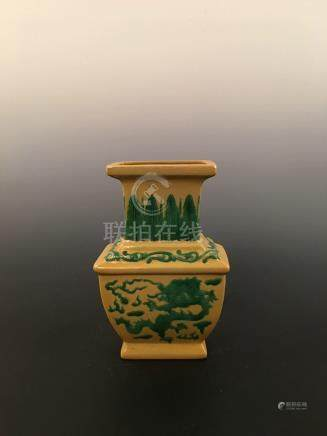 Chinese Yellow Ground Green Glazed Square Vase