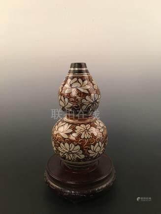 Chinese Ci Zhou Double-Gourd Porcelain Vase