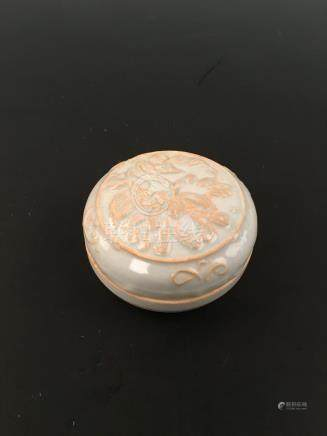 Chinese Ding Ware Carved Porcelain Box With Lid