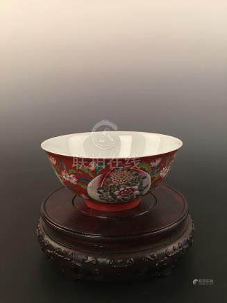 Chinese Red Ground Enamel Bowl