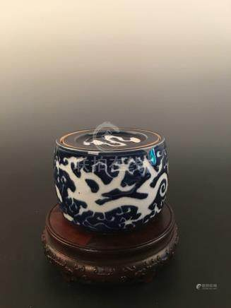 Chinese Blue ground White Dragon Incense Burner