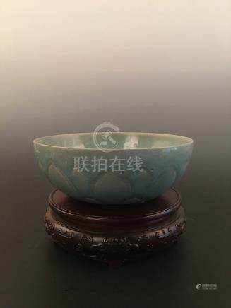 Chinese Green Glazed Carved Bowl