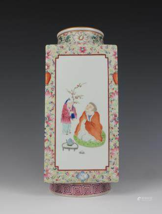CHINESE FAMILLE ROSE CONG VASE