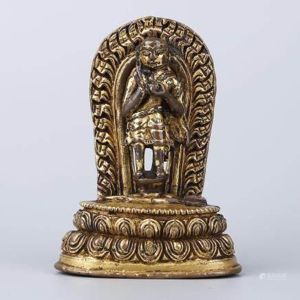 NEPALESE GILT BRONZE FIGURE OF BUDDHA