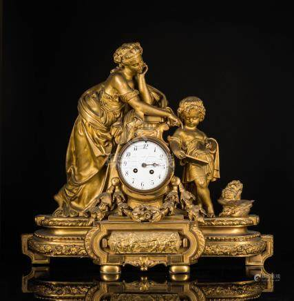 France Antique Gilt Bronze Clock