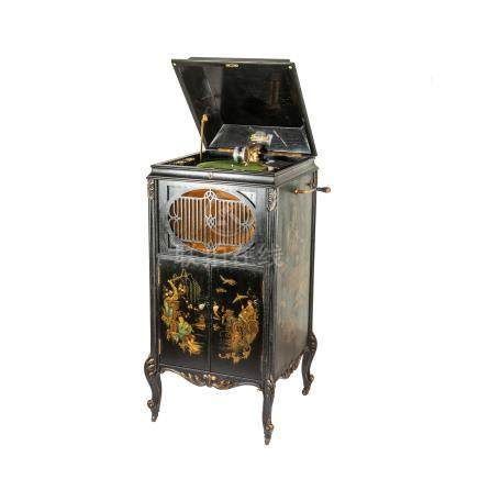 Antique Ornate Brunswick Chinoiserie Upright Gramophone