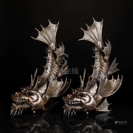 Pair 19th Japanese Bronze Fish