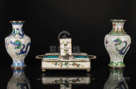 19th Chinese Antique Cloisonne Vase and Box