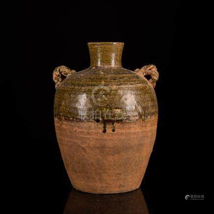 Jin Dynasty Chinese Antique Brown Glazed Pottery Jar