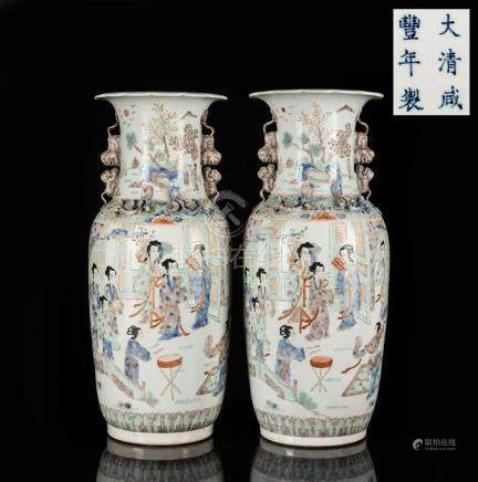 Pair 19th Chinese Antique Large Vase