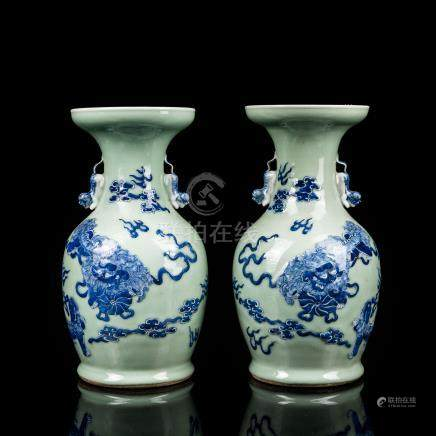 Pair 19th Chinese Antique Green Glazed Vase