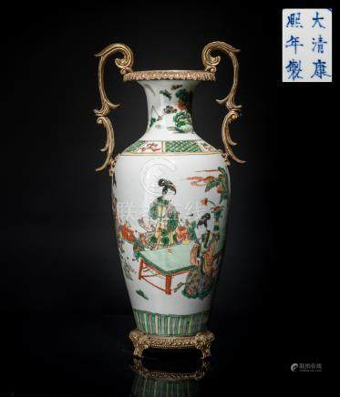 Kangxi Mark Gilt Bronze Porcelain Vase