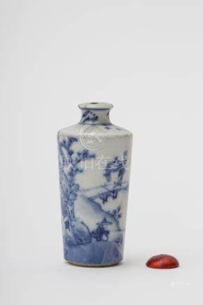 snuff bottle with tapered body - China, Qing dynasty, antique work, possibly Kangxi White porcelain,