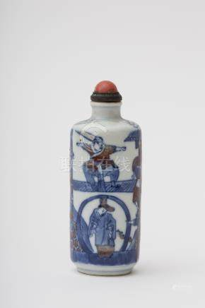 Large scroll-shaped snuff bottle - China, Qing dynasty, 18th century Blue and red porcelain, with