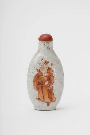 Oblong snuff bottle - China, Qing dynasty, 18th century Red and white porcelain, decorated with an