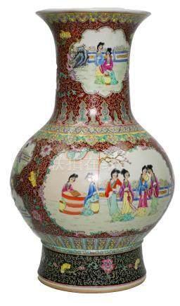Large Famille Rose Chinese Floor Vase