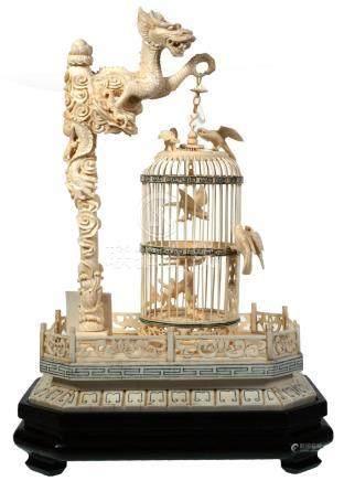 Vintage Chinese Bone Dragon Bird Cage