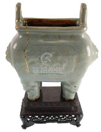 Chinese Celadon Footed Censer, Kintsugi Repairs