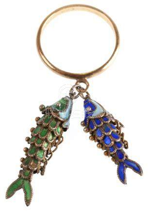 Chinese Articulated Enamel Fish 14k Gold Ring