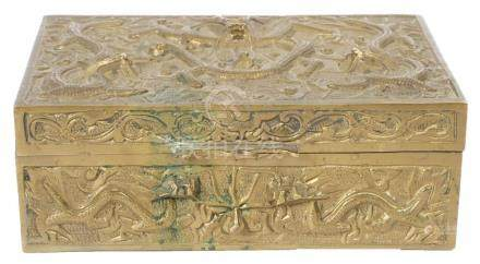 1920s High Relief Chinese Brass Cigarette Box