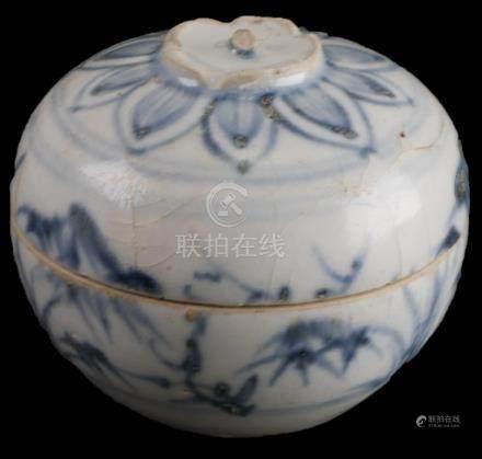 Vietnamese/Annamese Underglaze Blue Lidded Box