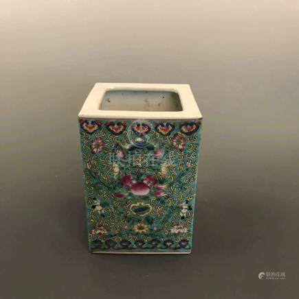 Chinese Famille Rose Brush Pot with Yongzheng Mark