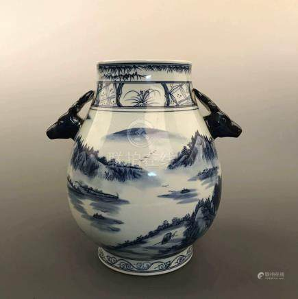 Chinese Blue and White Porcelain Vase Decorated with Deer Head