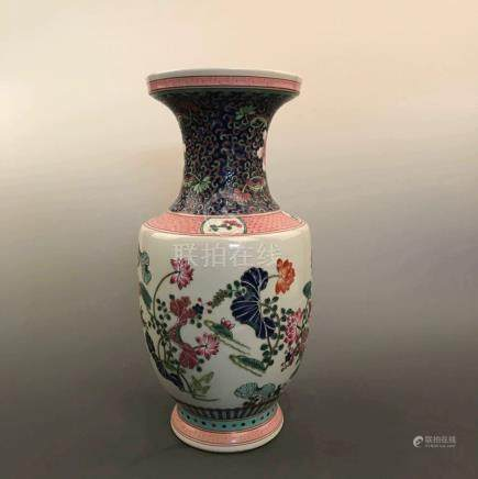Chinese Famille Rose Flower Vase with Kangxi Mark