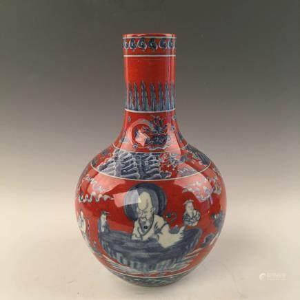 Chinese Red Glazed Blue &White Globular Vase With Chenghua Mark