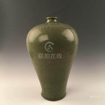 Chinese Yaozhou Ware Plum Vase With Carved Decoration