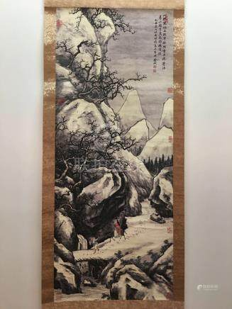 Chinese Hanging Scroll of Snow View And Travelers With Jin Cheng Signed