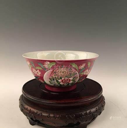 Chinese Enamel Bowl With Kangxi  Mark