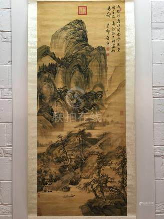Chinese Hanging Scroll of Landscape With Tang Yin Signed
