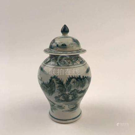 Chinese Green Glazed Jar with Cover
