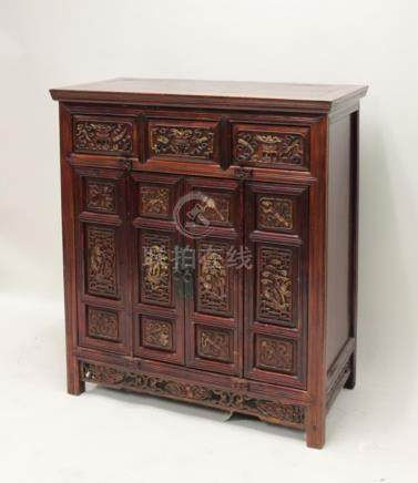 18/19C Chinese Carved Hardwood Cabinet