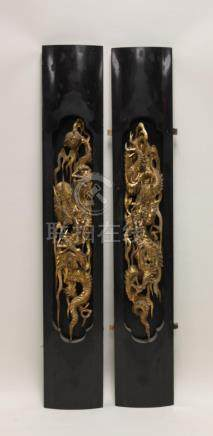 (2)19C Chinese Carved Dragon Furniture Panels