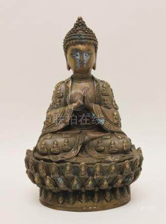 Vintage Chinese Lord Buddha Bronze Sculpture