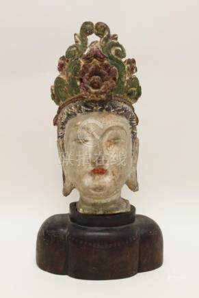 18/19C Chinese Polychrome Bust Guanyin