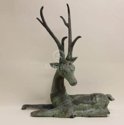 Chinese Fengshui Bronze Sika Deer Sculpture