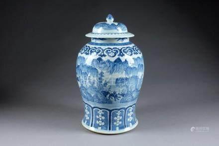 Vase couvert. Au décor circulaire de personnages sur un pont et d'un buffle. Porcelaine de C