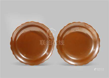 A RARE PAIR OF CHINESE JIANG GLAZED DISHES SIX CHARACTER QIANLONG MARKS AND OF THE PERIOD 1736-95
