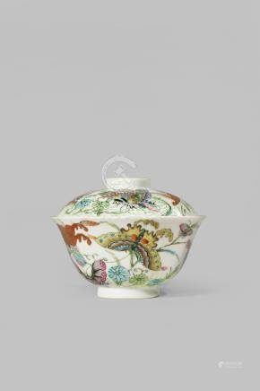 A CHINESE FAMILLE ROSE 'BUTTERFLY' BOWL AND COVER FOUR CHARACTER JIAQING MARK AND OF THE PERIOD