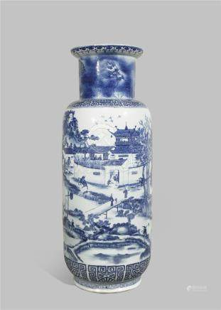 A MASSIVE CHINESE BLUE AND WHITE 'LANDSCAPE' VASE 19TH CENTURY The cylindrical body painted with