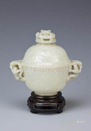 A CHINESE PALE CELADON JADE CUP AND COVER LATE QING DYNASTY The body finely incised with