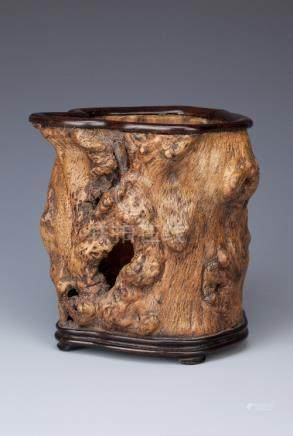 A CHINESE ROOTWOOD BITONG 19TH/20TH CENTURY Carved from a gnarled hollowed trunk with holes to the