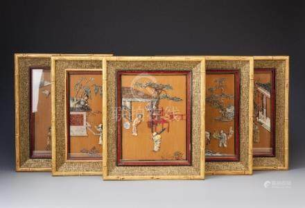 A SET OF FIVE CHINESE SOAPSTONE AND BOXWOOD PLAQUES LATE QING DYNASTY Each decorated with applied