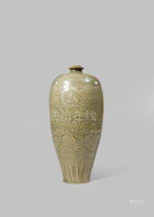 A CHINESE YAOZHOU-TYPE CELADON MEIPING PROBABLY QING DYNASTY The ovoid body incised with stylised