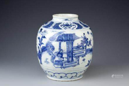 A CHINESE BLUE AND WHITE JAR WANLI 1573-1620 The ovoid body with a short neck painted with figures